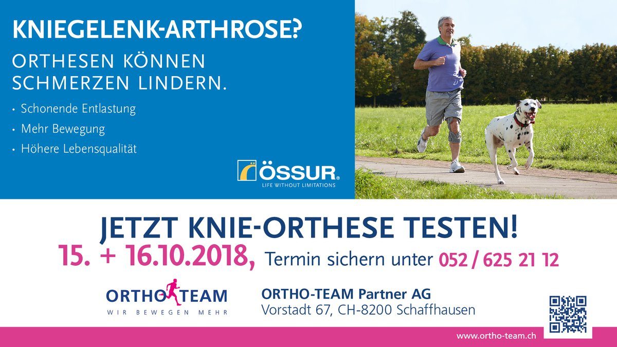 Arthrose Orthesen Testtage in Schaffhausen